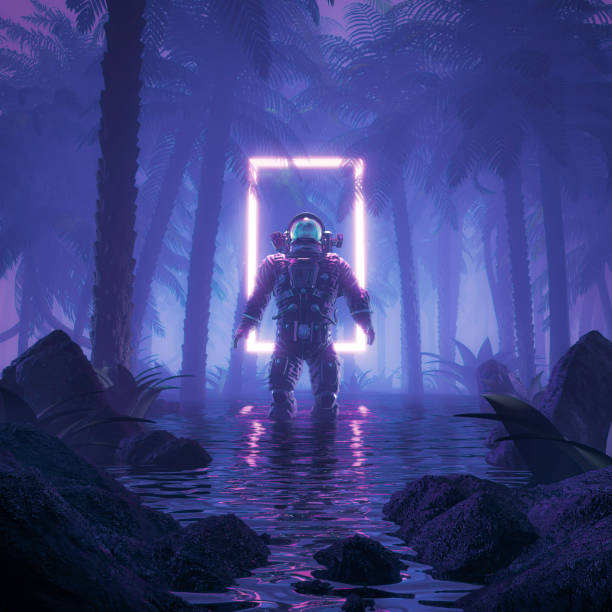 Psychedelic jungle astronaut stock photo