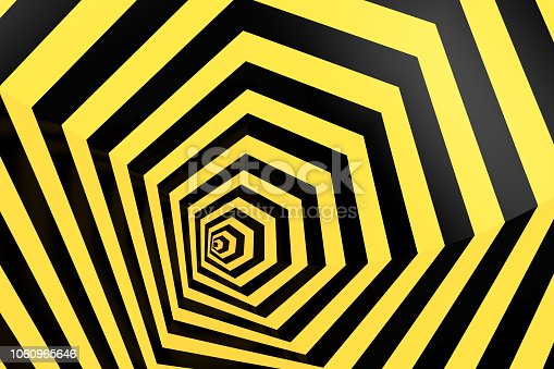 1061380420 istock photo Psychedelic Striped Hexagon, Honeycomb, Optical Illussion, 3D Abstract Background 1060965646