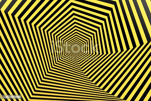 1061380420 istock photo Psychedelic Striped Hexagon, Honeycomb, Optical Illussion, 3D Abstract Background 1060965886