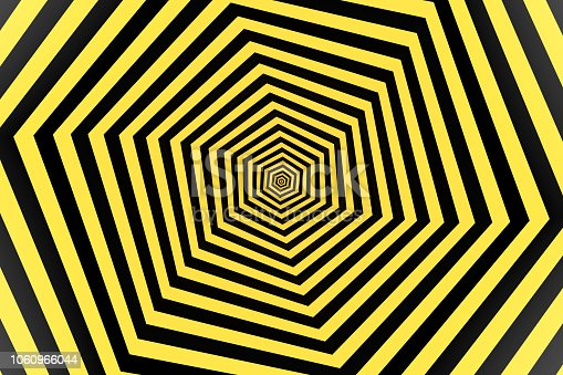 1061380420 istock photo Psychedelic Striped Hexagon, Honeycomb, Optical Illussion, 3D Abstract Background 1060966044