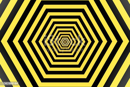 1061380420 istock photo Psychedelic Striped Hexagon, Honeycomb, Optical Illussion, 3D Abstract Background 1060966164
