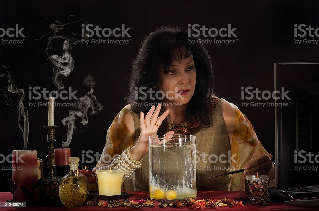 Psychic reading a shapes of egg whites stock photo