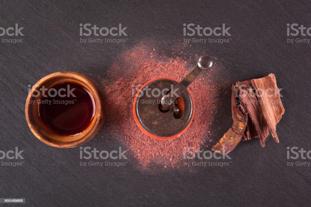 Psychoactive ayahuasca drink. stock photo