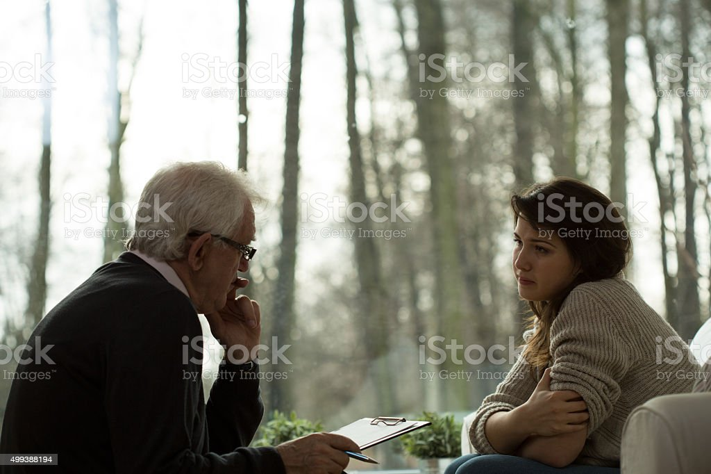 Psychoanalytic session with patient stock photo