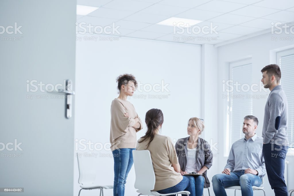 Psychodrama therapy session stock photo