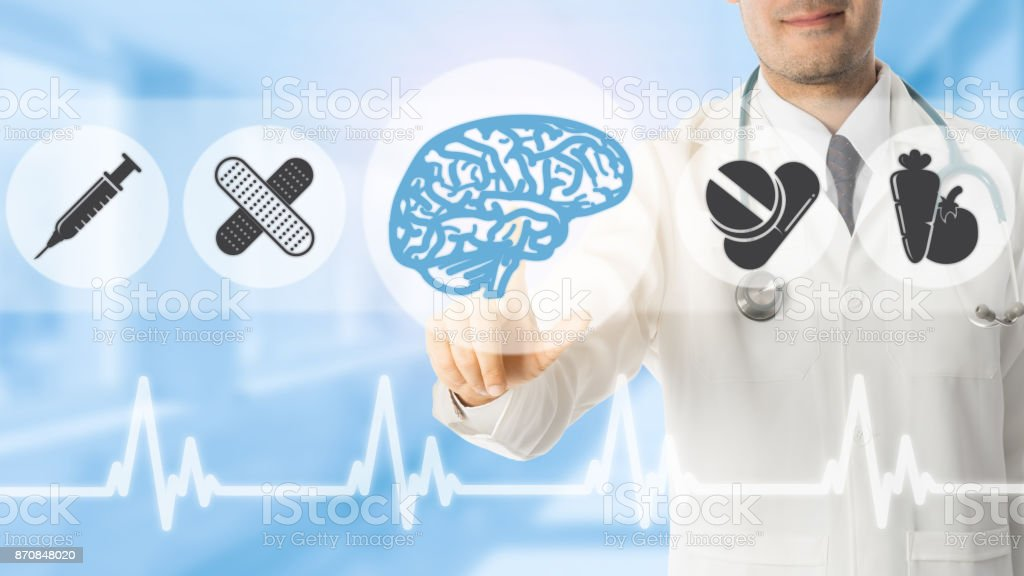 Psychologist Doctor Pointing at Brain Symbol Icon stock photo