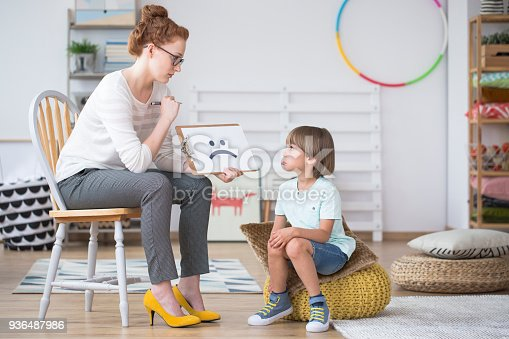 istock Psychologist showing picture to boy 936487986