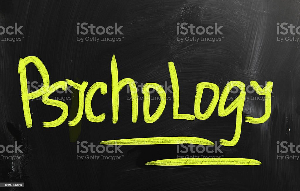 'Psychology' handwritten with chalk on a blackboard royalty-free stock photo