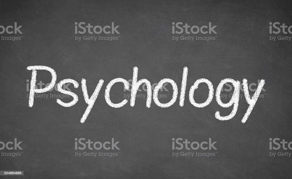 Psychology lesson on blackboard or chalkboard. stock photo