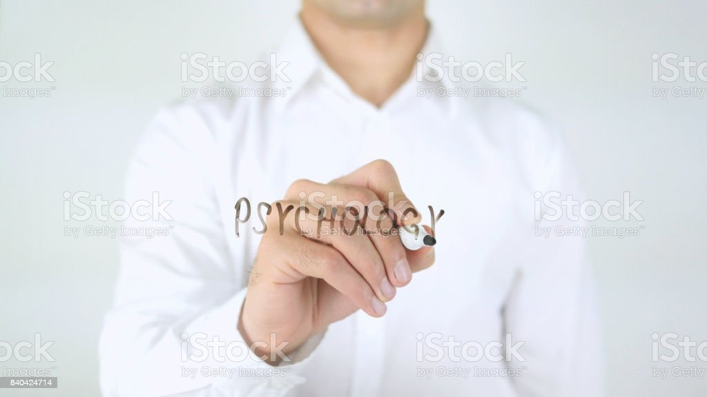 Psychology, Man Writing on Glass stock photo