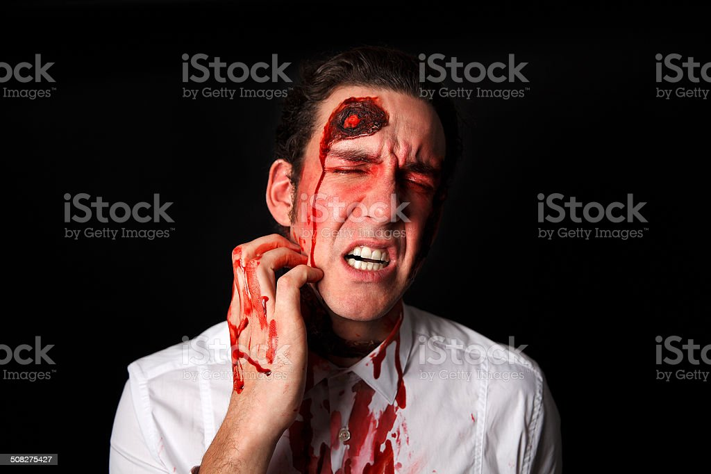 Psychopath with bloody scars stock photo