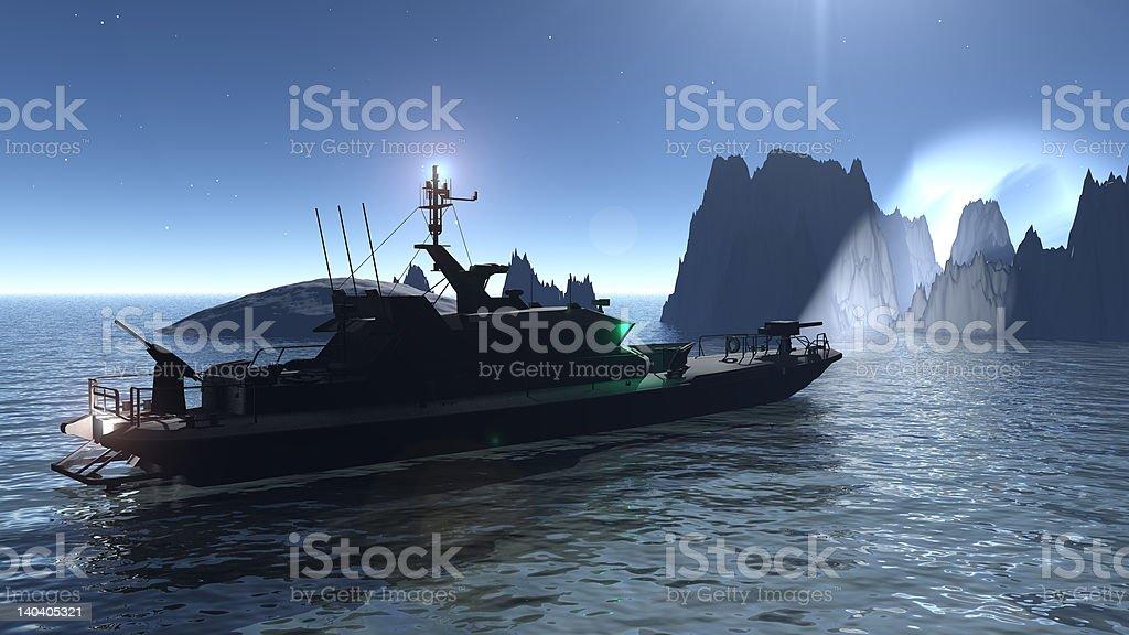 PTBoat Night SPotlight on Cliffs stock photo
