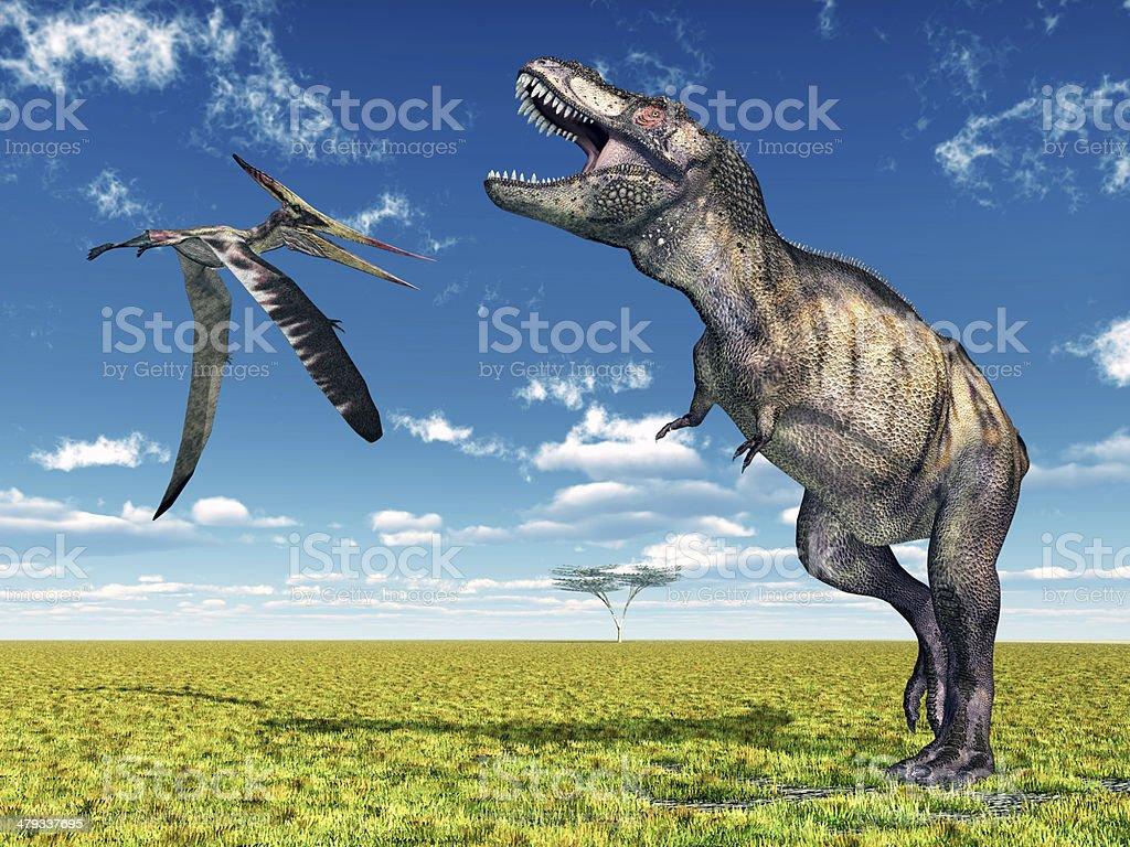 Pteranodon and Tyrannosaurus Rex stock photo