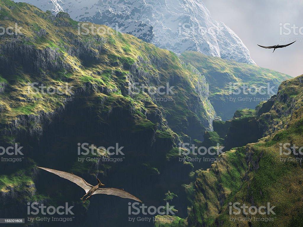 Pteranodon flying through the canyon stock photo