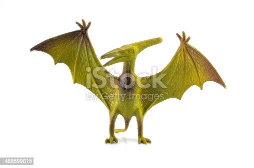 Pterosaur dinosaur toy isolated on white
