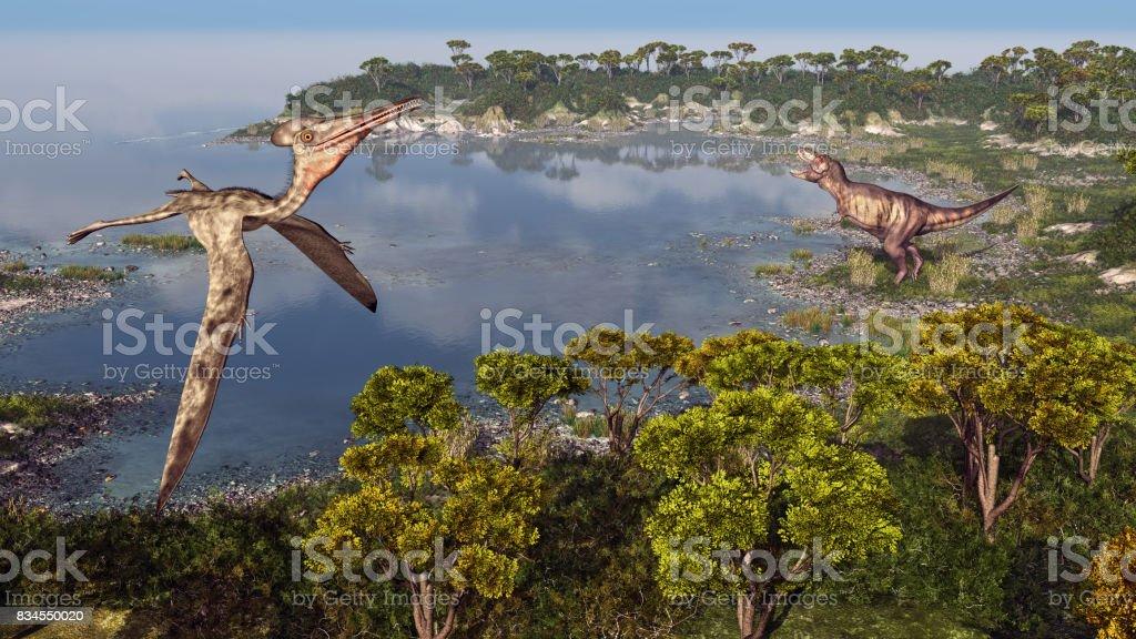 Pterosaur Pterodactylus and dinosaur Tyrannosaurus Rex stock photo