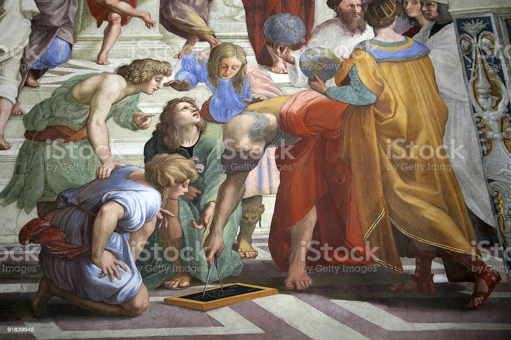 Ptolemy and Strabo in the School of Athens by Raphael stock photo
