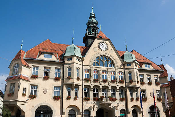 Ptuj - The City Hall facade stock photo