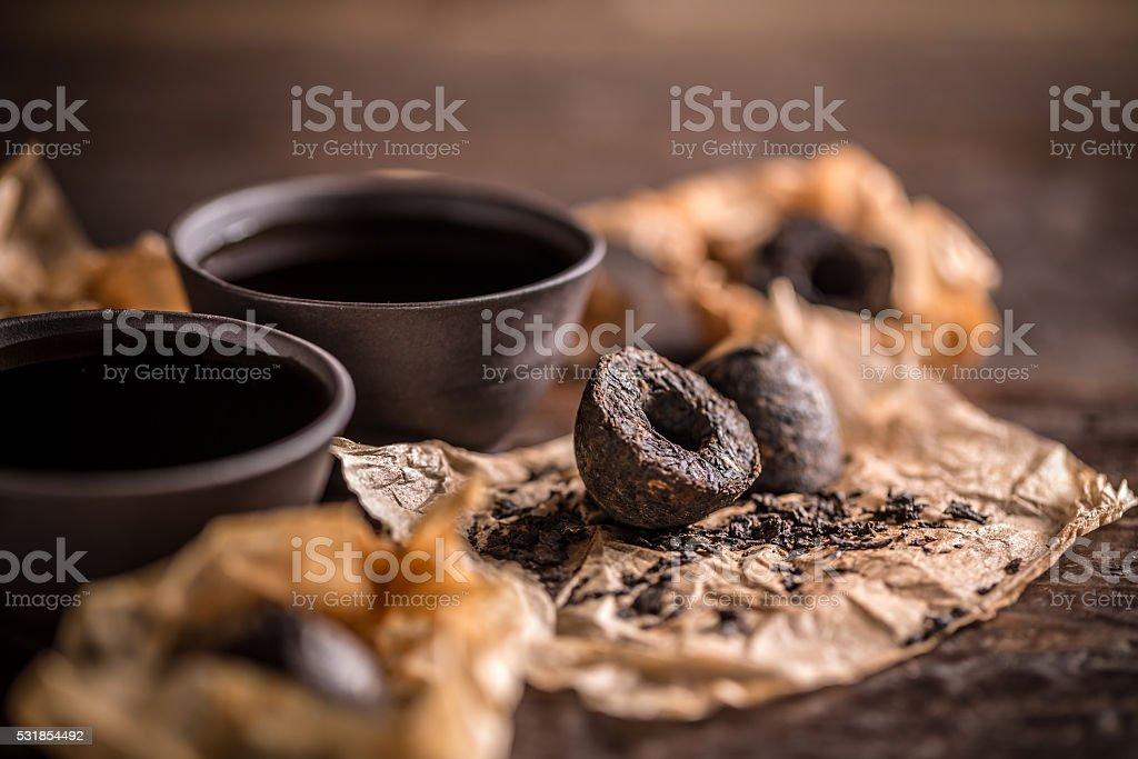 Pu erh tea stock photo