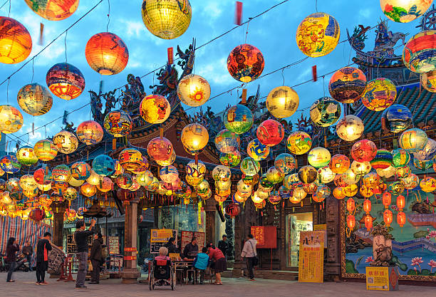 Pu Ji Temple Lantern Festival Tainan, Taiwan - February 28, 2016: Pu Ji Temple Lunar New Year Painted Lantern Festival in Tainan. Pu ji temple the first Wang Ye Temple in Taiwan. taiwan stock pictures, royalty-free photos & images