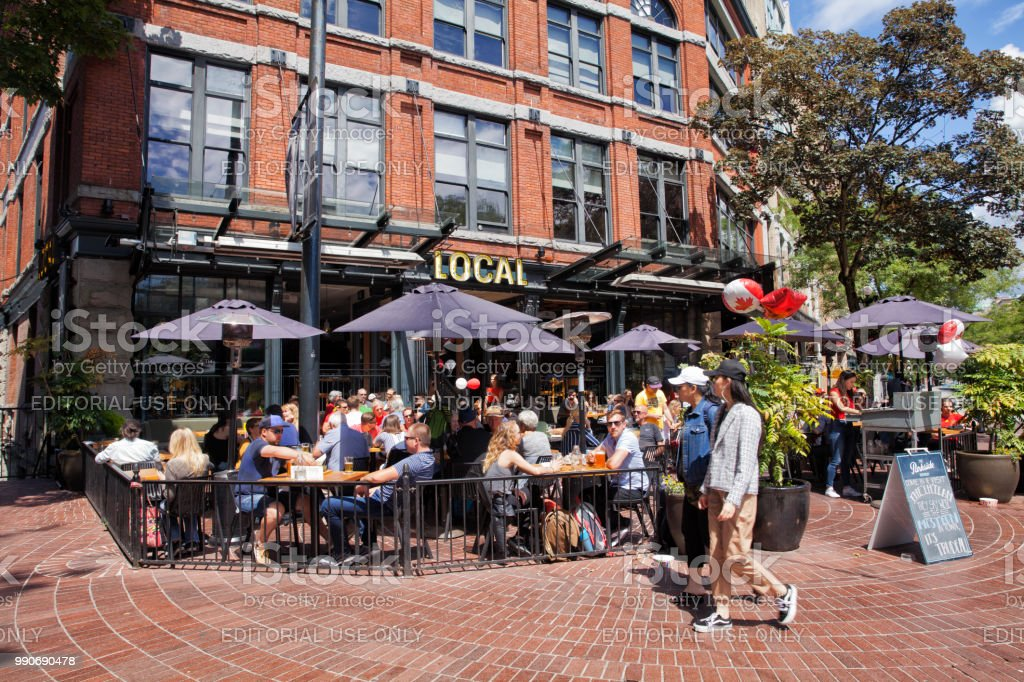 A pub at Gastown on Canada Day,Vancouver,Canada stock photo