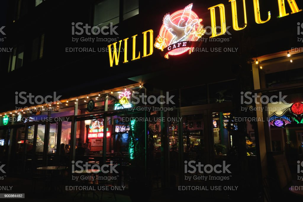 Pub at Night stock photo