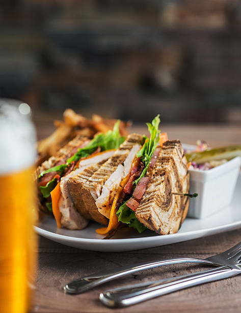 pub club with beer - club sandwich stock photos and pictures