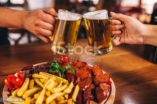 Food and beer at the pub