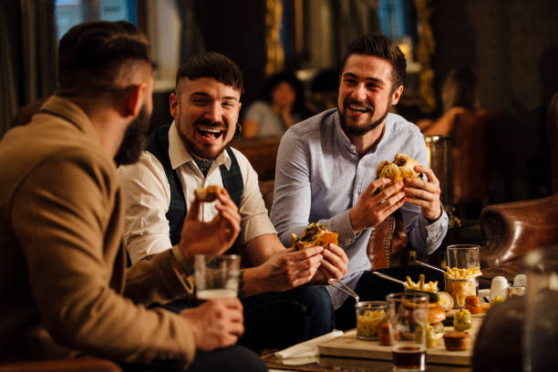 pub food and drinks - happy hour stock photos and pictures