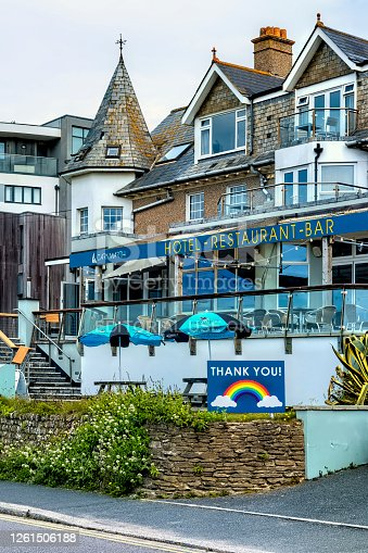 Newquay, Cornwall, England, UK. This is a pub restaurant on a street in the holiday town of Newquay which is noted for its surfing beaches.