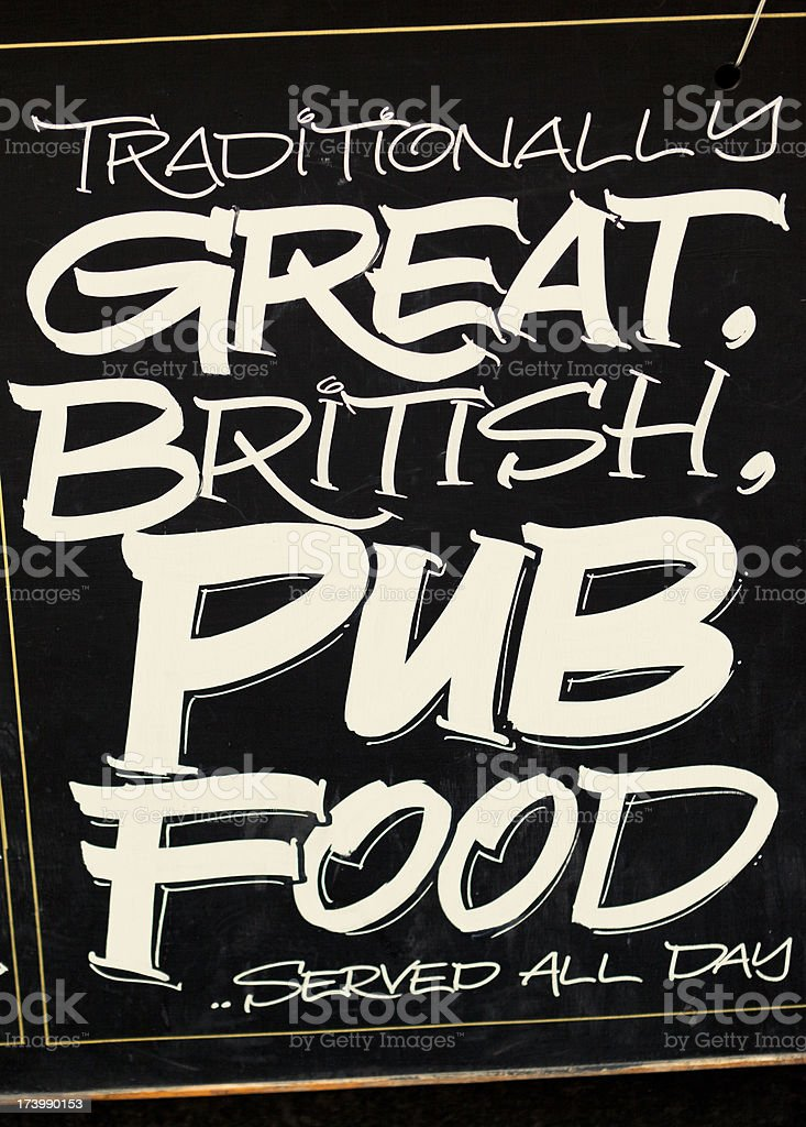 Pub menu board stock photo