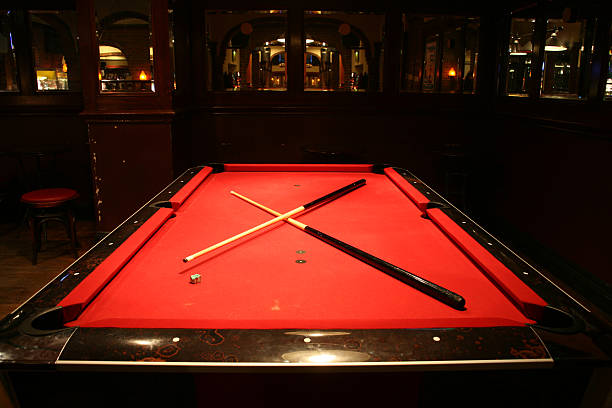 pub pool - pool cue stock photos and pictures