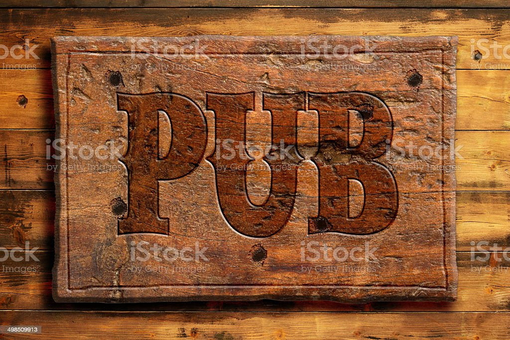 pub signboard stock photo