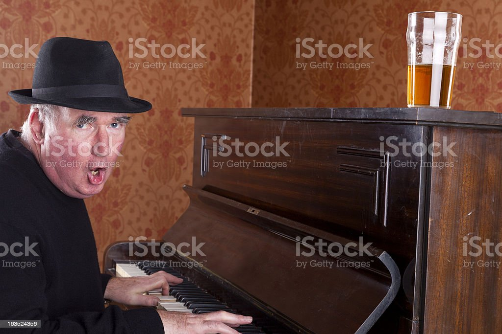 Pub Singer Playing The Piano stock photo