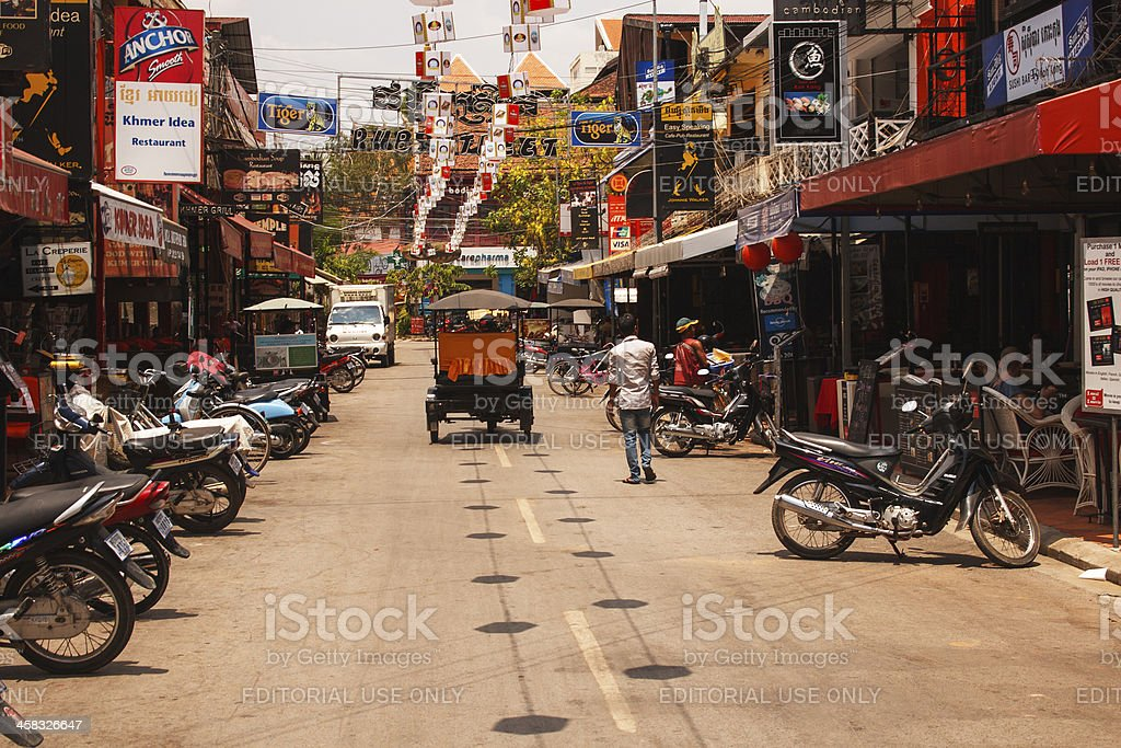 Pub Street - Downtown Siem Reap, Cambodia stock photo