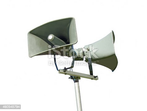 istock Public address system loud speaker - isolated 492545794