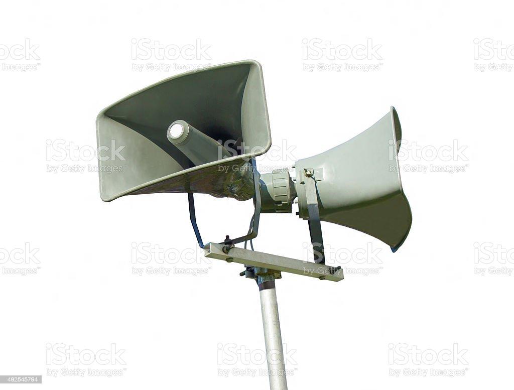 Public address system loud speaker - isolated stock photo