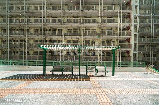 Sai Wan Estate, Public Apartment Building Detail in Hong Kong