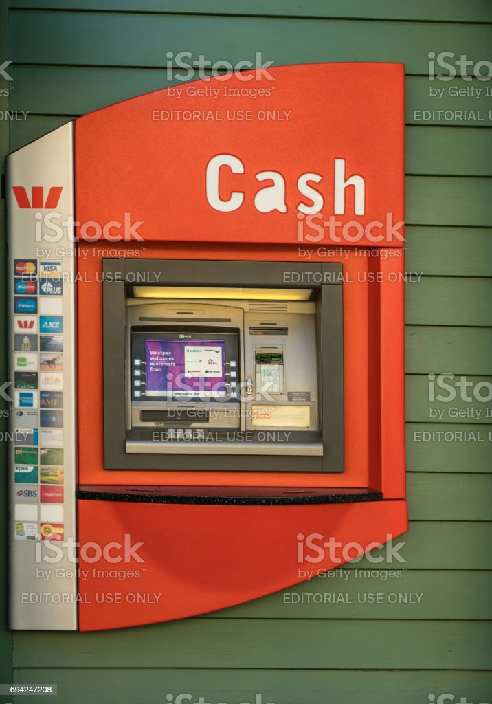 Public ATM machine in Arrowtown, New Zealand. stock photo