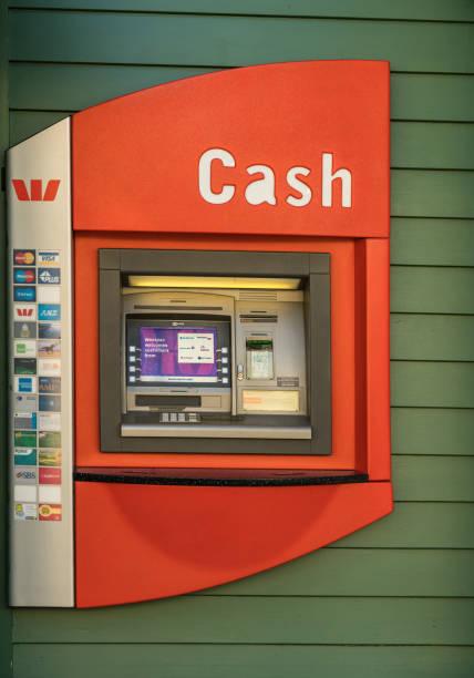Public ATM machine in Arrowtown, New Zealand. stock photo