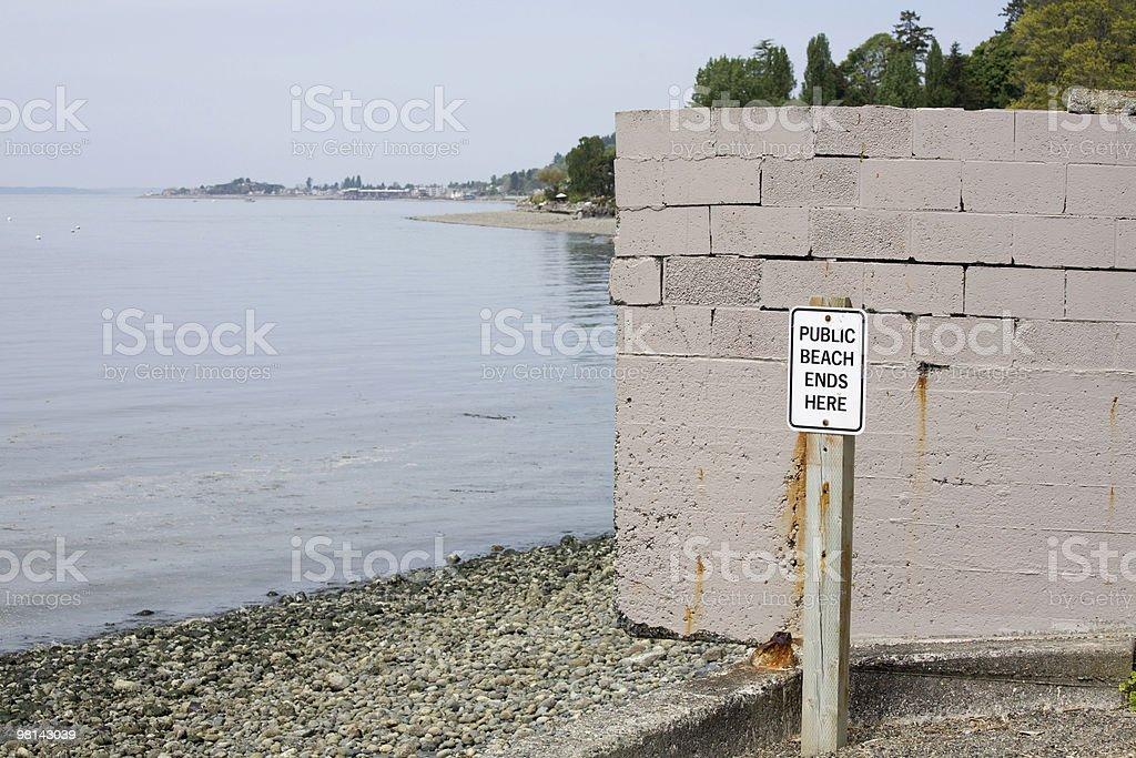 Spiaggia pubblica finisce qui l'accesso foto stock royalty-free