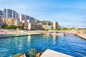 panorama of Larvotto Beach in Monte Carlo, Monaco