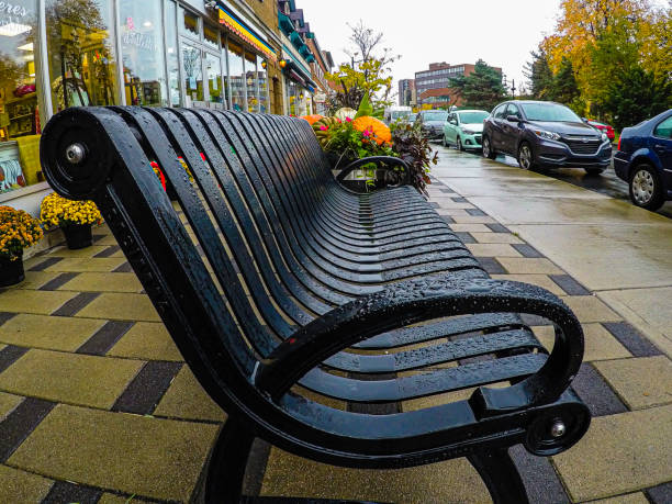 A public bench after the rain. stock photo