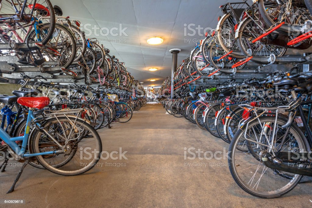 Public Bicycle parking at Groningen central station. The city of Groningen has been voted ' most cycle friendly city of the Netherlands' for 3 years in a row. stock photo