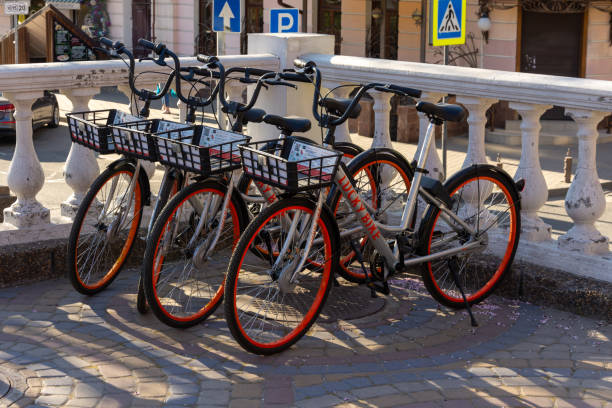 Rostov-on-Don, Russia - April 7, 2020: public bicycles for rent in the city center. Bike sharing. Eco-friendly modes of transport. Environmental measures in cities stock photo