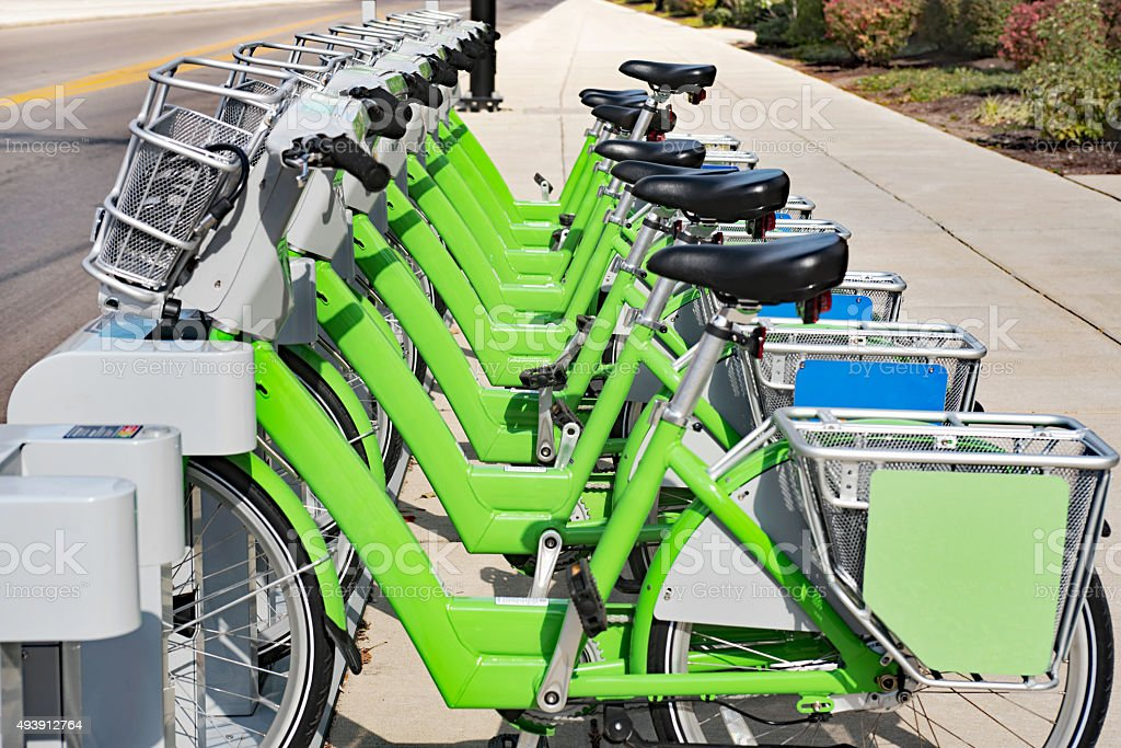 Public Bike Rental, Close Up stock photo