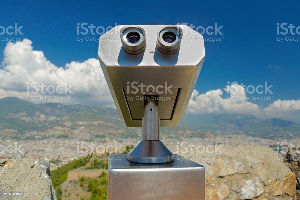 Public binocular stock photo