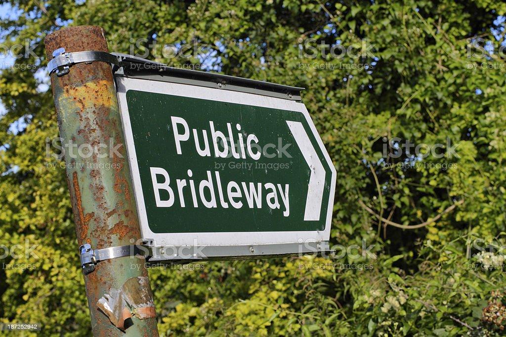 Public bridleway notice North Downs Way Surrey Hills royalty-free stock photo