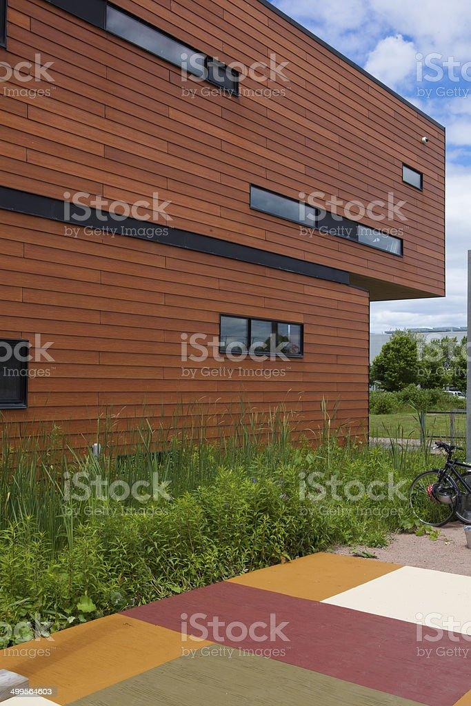public bulding and patio stock photo