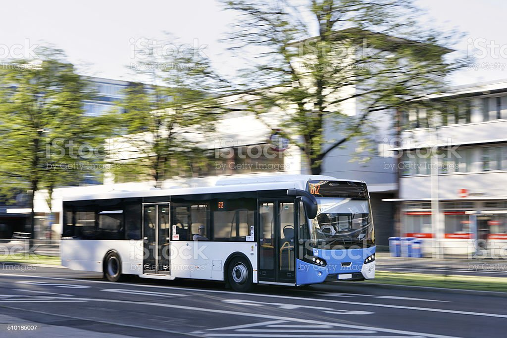 Public bus in a city stock photo